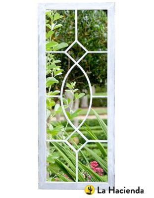 3ft 5in x 1ft 5in - Grey Wash Decorative Metal Tall Glass Garden Mirror - La Hacienda