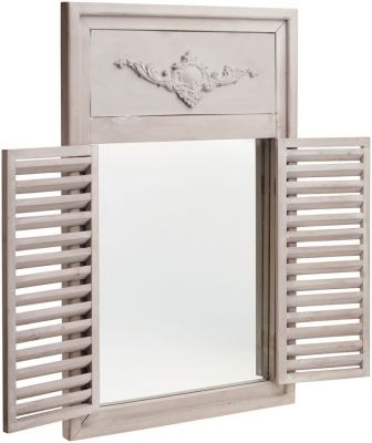 2ft x 1ft 2in French Style Glass Garden Mirror with Wooden Shutters