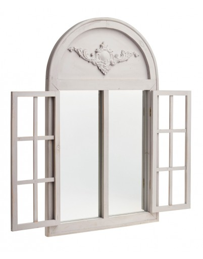 2ft 5in x 1ft 5in French Style Arched Glass Garden Mirror with Wooden Shutters