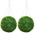 38cm Pair Of Artificial Topiary Boxwood Ball by Primrose®