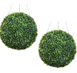 28cm Pair Of Artificial Topiary Boxwood Balls by Primrose™