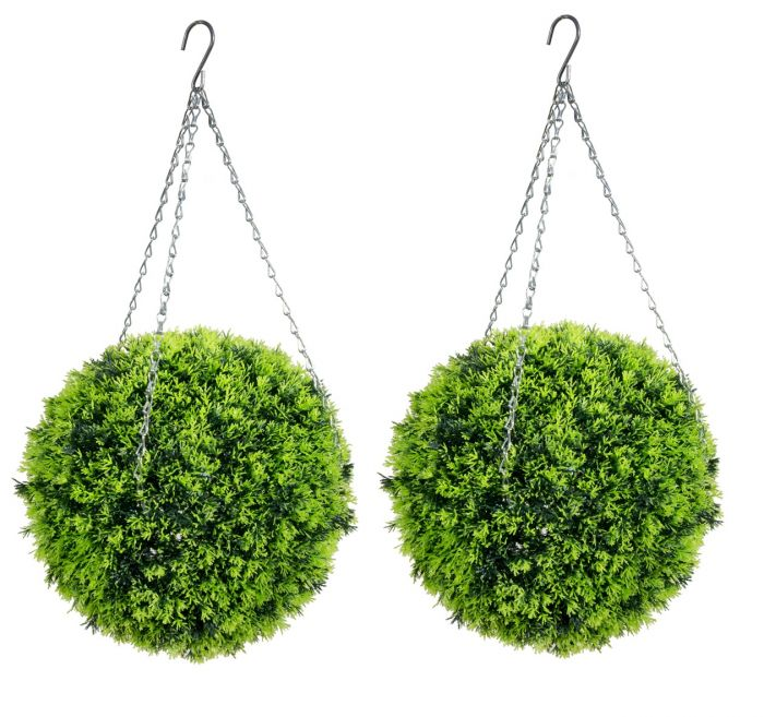 38cm Pair Of Artificial Topiary Conifer Ball by Primrose™