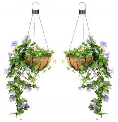 Pair of 26cm Purple Duranta Artificial Hanging Basket with Solar Lights by Primrose®