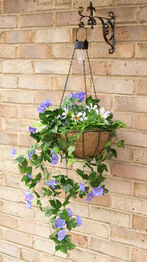 Hanging flower baskets with lights : Pair of cm purple duranta artificial hanging basket with