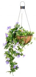 26cm Purple Duranta Artificial Hanging Basket with Solar Lights by Primrose™