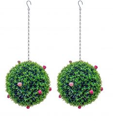 28cm Pair Of Artificial Topiary Pink Rose Balls by Primrose®