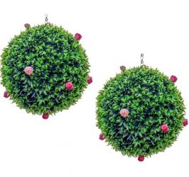28cm Pair Of Artificial Topiary Pink Rose Balls by Primrose™