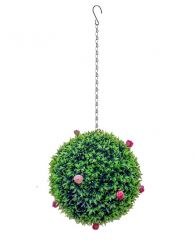 28cm Artificial Topiary Pink Rose Ball by Primrose®