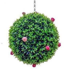 28cm Artificial Topiary Pink Rose Ball by Primrose™