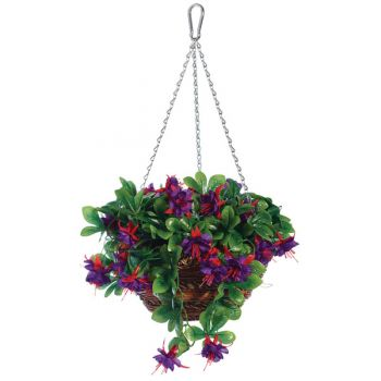 "12"" Artificial Fuchsia Hanging Basket"