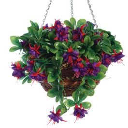 30cm Artificial Fuchsia Hanging Basket