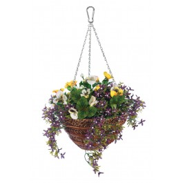 30cm Artificial Pansy & Lobelia Hanging Basket