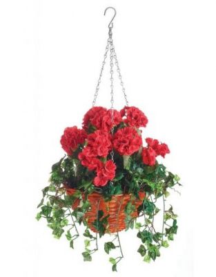 30cm Artificial Geranium Hanging Basket