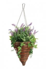 30cm Artificial Lavender & Trailing Ivy Hanging Cone