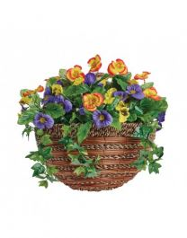 35cm Artificial Pansy Wall Basket