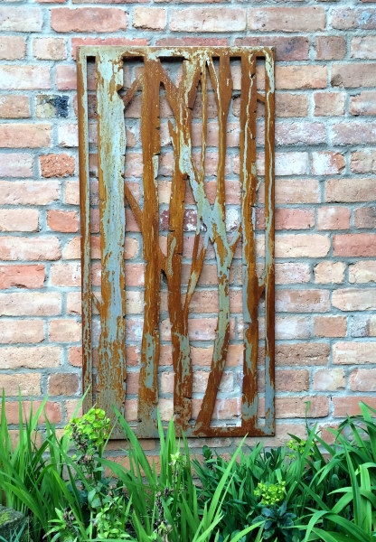 Rusty Steel Outdoor Screen - Silver Birch