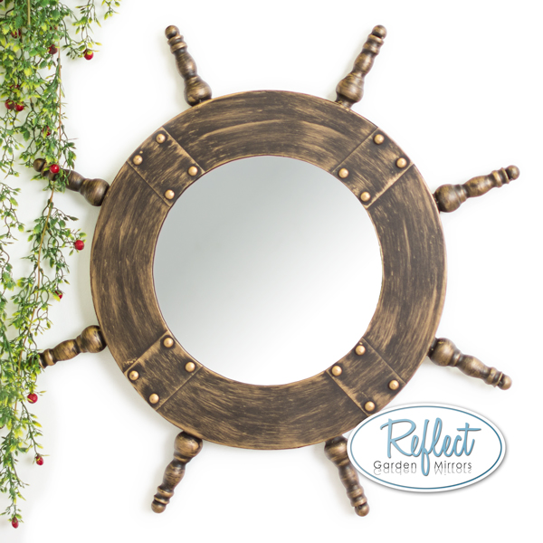 63cm Nautical Wheel Metal Framed Glass Garden Mirror - by Reflect™