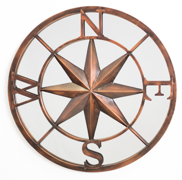 60cm North Star Compass Metal Framed Glass Garden Mirror - by Reflect™