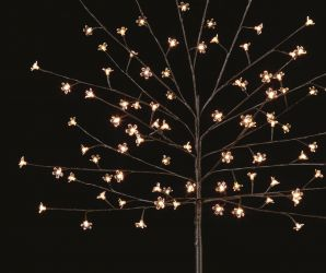 1.5m Warm White Outdoor Cherry Tree with 96 LEDs with Timer - Battery Operated