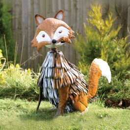 Nodding Metal Fox Garden Ornament