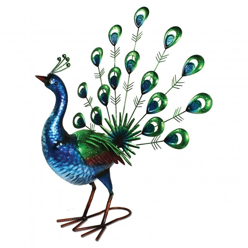 Vibrant Fan Tailed Peacock Garden Ornament 163 34 99