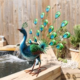 Vibrant Fan Tailed Peacock Garden Ornament