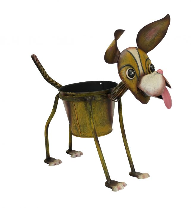Nodding Metal Dog Planter