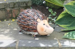 Jolly Metal Hedgehog Garden Ornament