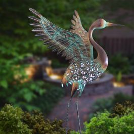 Ornate Solar LED Winged Crane Ornament