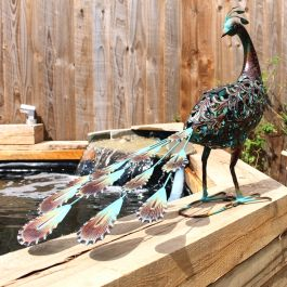 Ornate Metal Solar LED Peacock Ornament