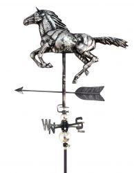 3D Stainless Steel Horse Weathervane with Garden Stake
