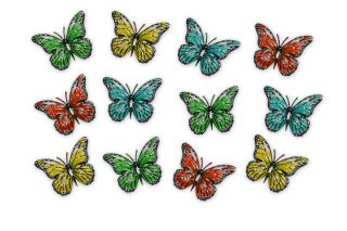 Multicoloured Metal Butterflies - 12 pk