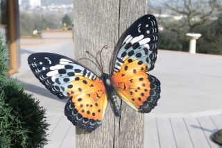 Metal Butterfly Wall Art - Orange/Black