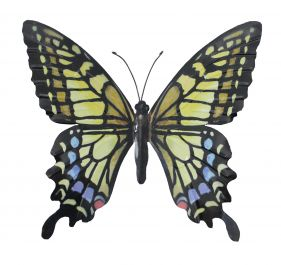 Metal Butterfly Wall Art - Yellow/Blue/Black