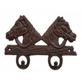 2 Horse Cast Iron Coat Hook