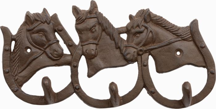 3 Hook Cast Iron Horse Shoes