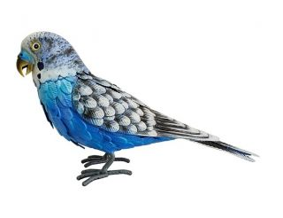 Blue Metal Budgie Garden Ornament