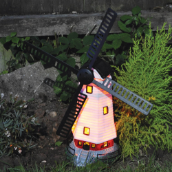 Traditional Garden Solar Light Windmill Wind Spinner