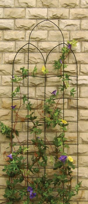 H182cm x W60cm Offset Spires Metal Trellis in Black