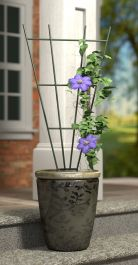 H91cm x W38cm Fan Pot Metal Trellis in Green