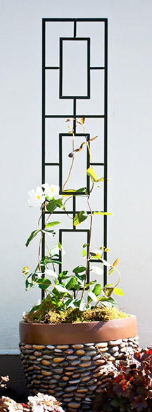 H116cm x W20cm Contemporary Pot Trellis in Black