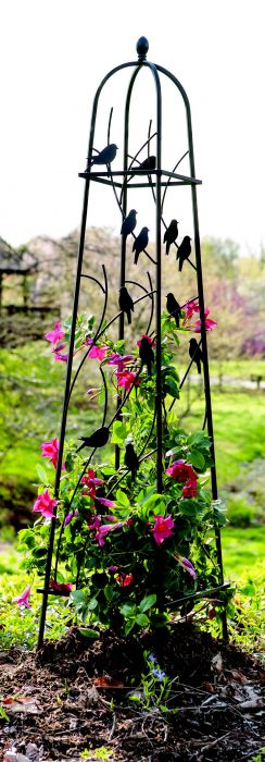 H162cm Perching Birds Obelisk in Black