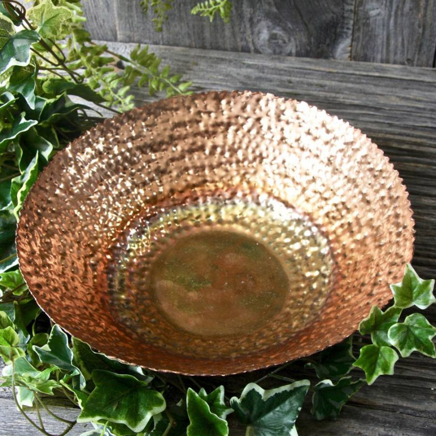 Dia 32cm Dimpled Copper Plated Shallow Bowl