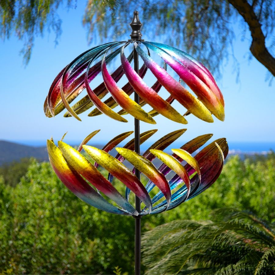 Colourful Globe Metal Wind Spinner Dia 40cm by Primrose™