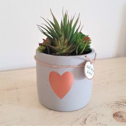 25cm Ceramic Heart Planter With Artificial Succulent  Plant