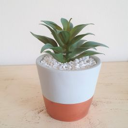 23cm Ceramic Grey And Gold Accent Planter With Artificial Succulent  Plant