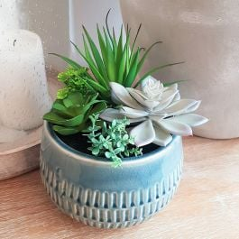 17cm Ceramic Blue Planter With Artificial Succulent  Plants