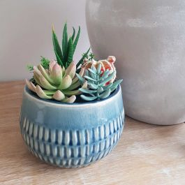 17cm Ceramic Blue  Planter With Artificial Cacti Style Plants