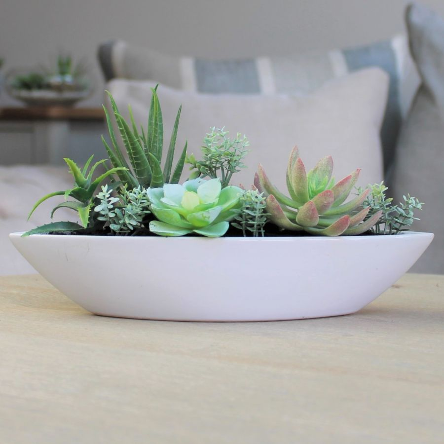 13cm White Ceramic Boat Planter with Artificial Succulent  Plants
