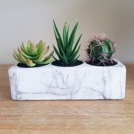 13cm Marble Effect Ceramic Block Planter with Artificial Succulents and Cacti